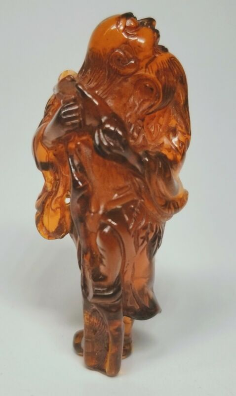 18th/19th Century Japanese Hand-Carved Amber Netsuke Ancestor Elder Figure 2.5""