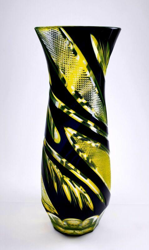 Vintage Czech Bohemian Black Yellow to Clear Cut Glass Vase ~ AMAZING