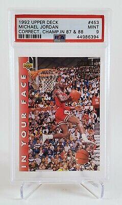 1992 Upper Deck UD Michael Jordan In Your Face #453 Correct PSA 9 Last Dance