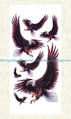 US SELLER, fake tatoo hawk eagle Halloween face decal temporary tattoo