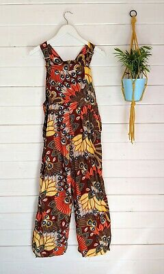 NEW Faitrade Peacock Paisley Floral Retro Fabric Dungarees M 10/12 VTG Jumpsuit