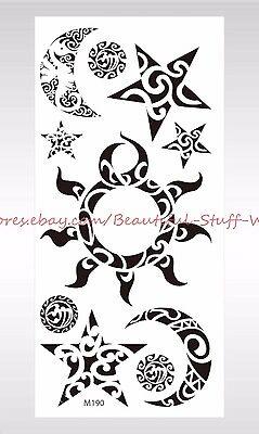 Moon Tribal Tattoos - US SELLER-temporary fake tattoos sun moon star tribal temporary tattoo