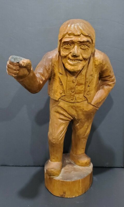 Antique Late 1800s - Early 1900s Single Piece Wood Carved Man Figure Statue