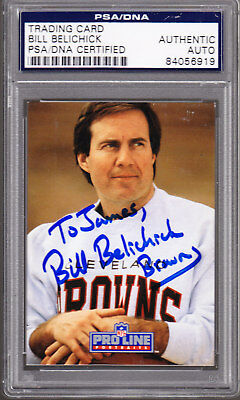 Bill Belichick Rookie Auto 1991 Proline  115 Psa Dna Authentic