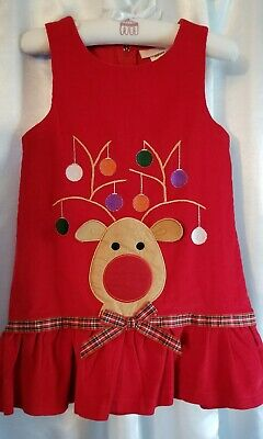 Girls Bonnie Jean Christmas Red Reindeer Rudolph Courdoroy Dress Size 5