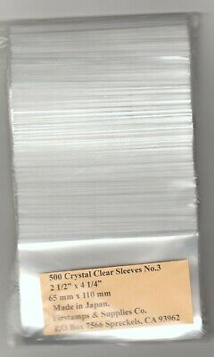 """@@ **New 500 #3 Crystal Clear Sleeves 2 1/2"""" x 4 1/4"""" For Stamps Thick~=2.5 mm."""