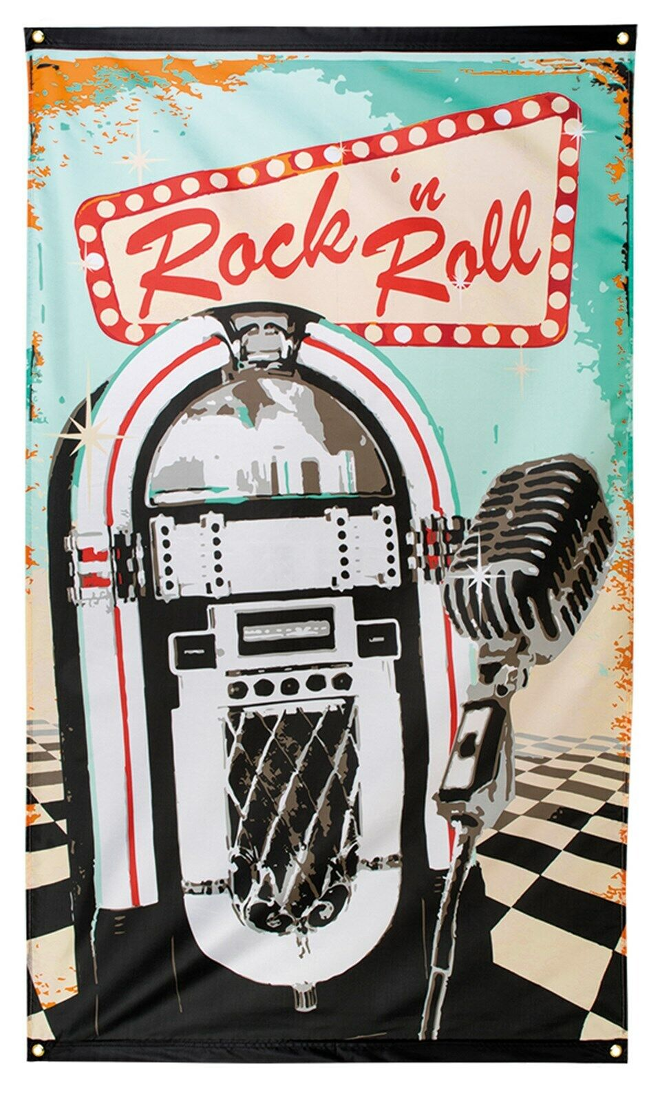 ROCK AND ROLL FLAG BANNER 50'S 60'S MICROPHONE JUKEBOX & N B