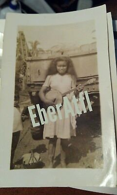 Orig. Photograph sepia, Oceania Papau New Guinea Native girl with Banjo Photo