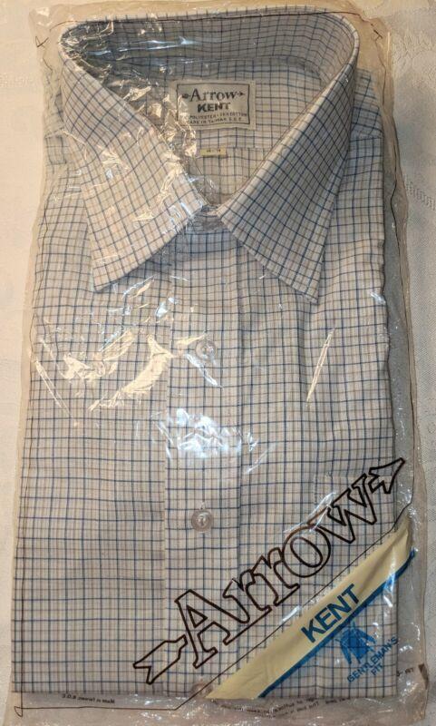 NOS NWT VTG ARROW KENT LONG Sleeve Dress Shirt Sz 16 34 1970s 1980s