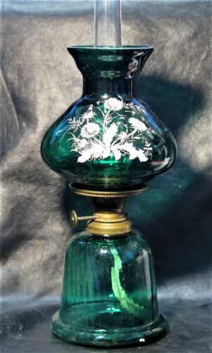 Unlisted Art Glass Miniature Oil Lamp Hand Painted Flowers Rare OUTSTANDING