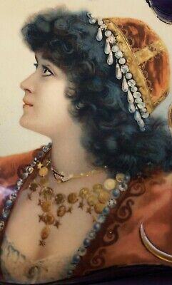 Victorian Gypsy Girl Celluloid Dresser Box Pretty Lady Vintage Antique Vanity