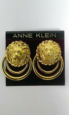 New Origin Card Old Stock ANNE KLEIN Goldtone LION HEAD Large Pierced Earrings