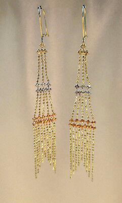 14K Yellow Gold 3-Tier Chandelier Drop Dangle Earrings 3