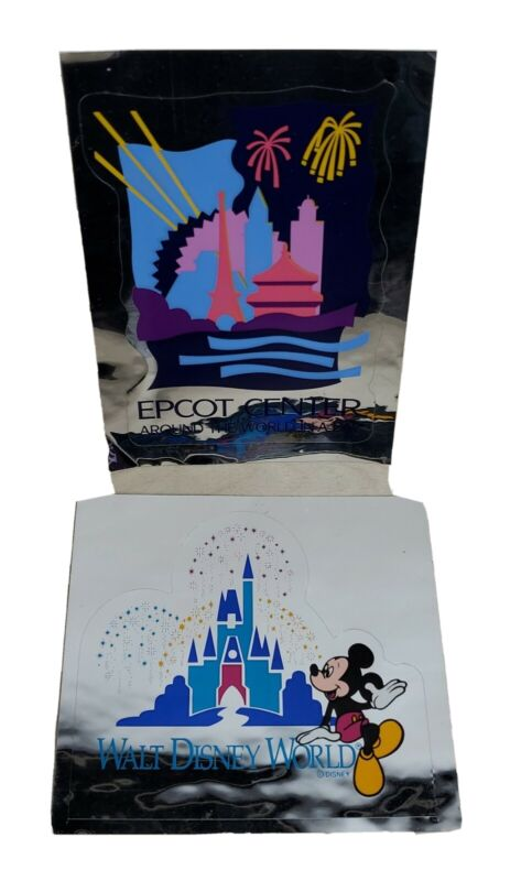 Walt Disney World Stickers 2 Count Epcot Center Silver Multicolored Mickey Mouse