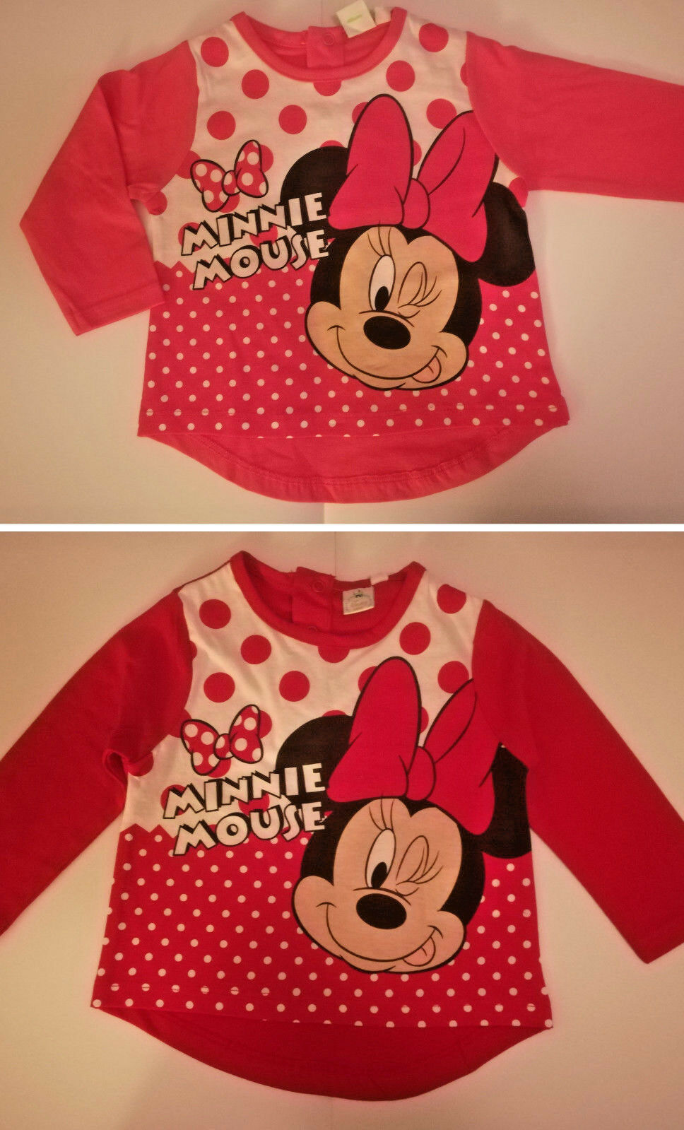 Disney Minnie Maus Mouse Baby L-Shirt Gr. 68 74 80 86 rot rosa