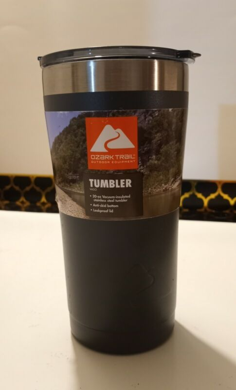 New Ozark Trail Double-wall Vacuum-sealed Stainless Steel Tumbler Gray, 20 oz