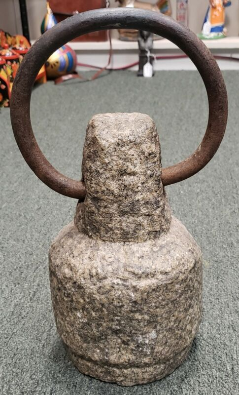 Early 20th Century French Stone Small Boat Anchor with Steel Ring