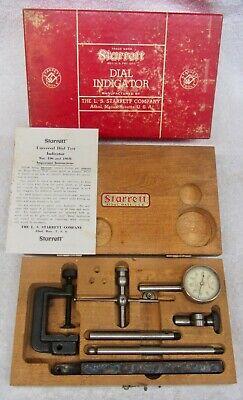 Starrett 196a Universal Dial Indicator Set Vtg Machinist Tool Wood Case Box