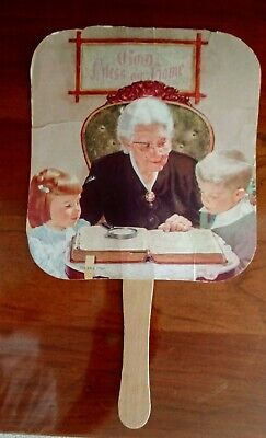 VINTAGE Tom M. Wages FUNERAL HOME FAN The Bible Story, Lawrenceville, GA, Prayer