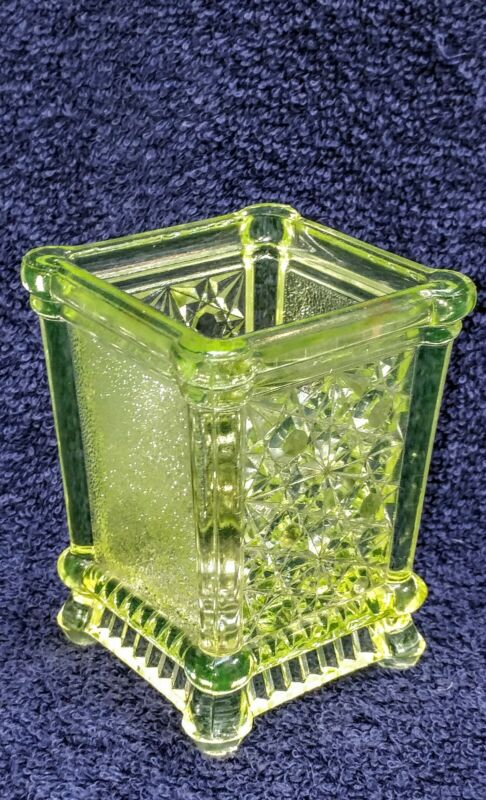 Vaseline uranium daisy button  Victorian glass toothpick holder match holder
