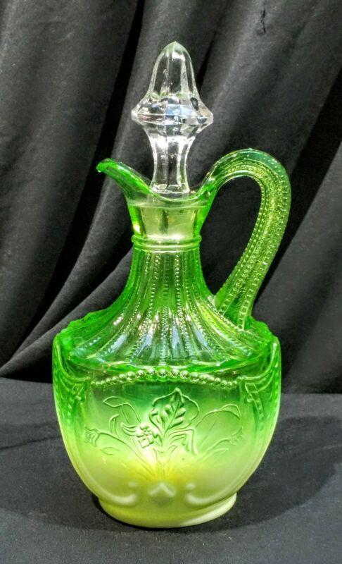 Stunning Victorian EAPG Northwood green uranium glass wild bouquet cruet