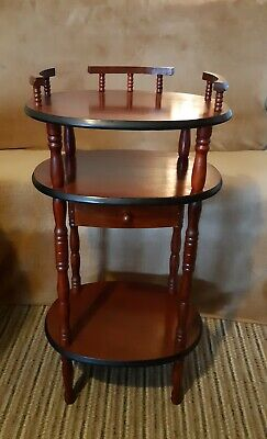 Vintage Wooden Stand With Three Tier And Drawer