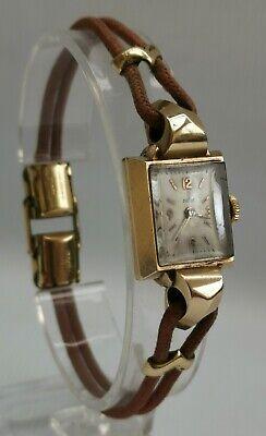 Vtg 1950s Rolex Tudor 9ct 9K Solid Gold  Ladies Cocktail Watch & Original Strap