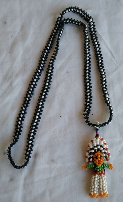 Original Vintage Native American Indian Beadwork Chef Necklace