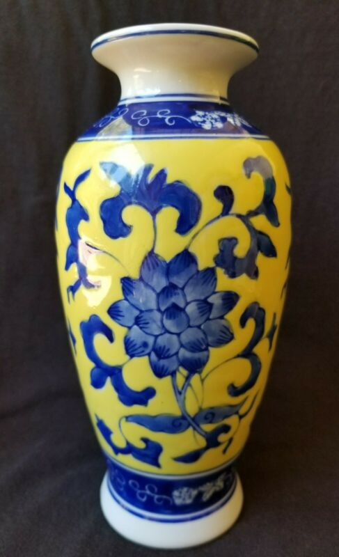 """Vintage CHINESE VASE Yellow Ground Cobalt Blue Flowers 8"""" Hand Painted Free Ship"""