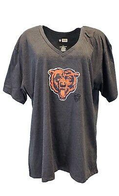 Chicago Bears NFL Team Apparel Grey Glitter Logo V Neck T Women's Plus Size](Team Apparel)