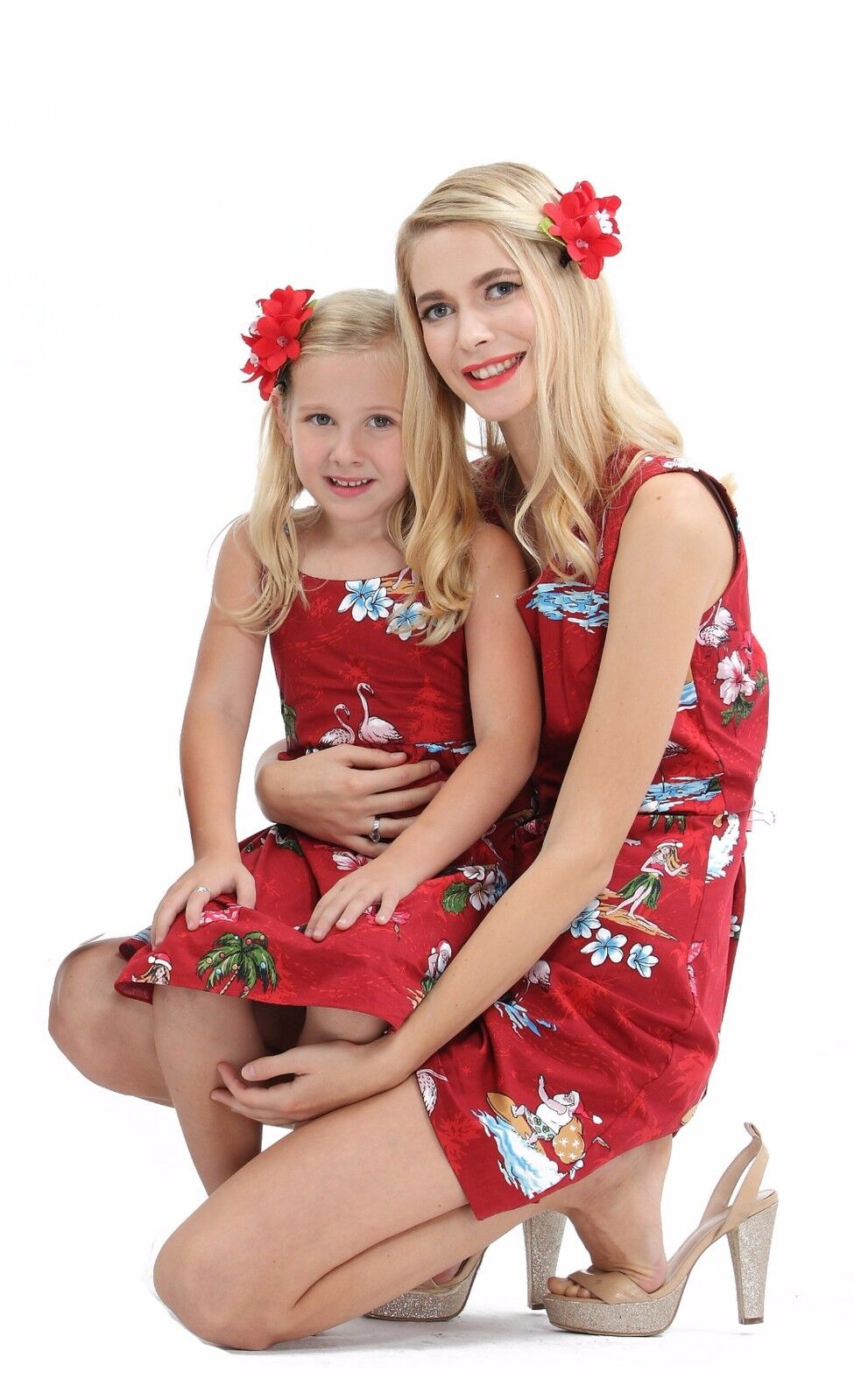 Christmas Santa In Hawaii Mother Daughter Matching Dresse...