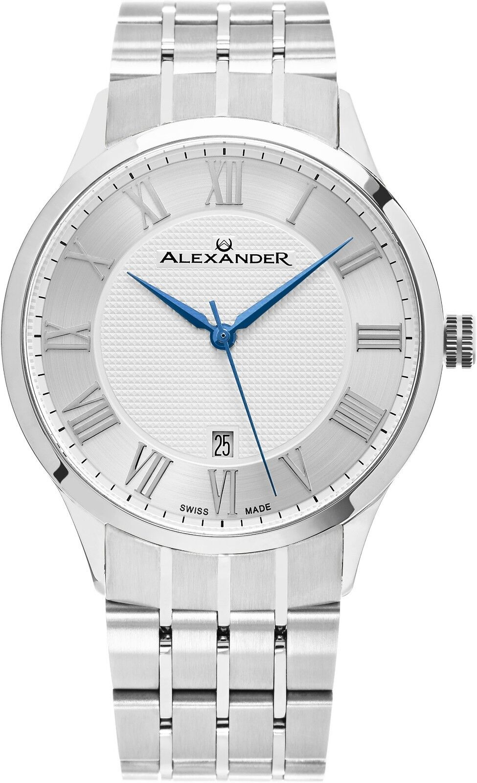 Alexander Silver Dial Stainless Steel Swiss Made Slim 9.5mm Men's Dress Watch