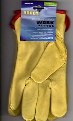 Hardy Mens Full Grain Leather Work Gloves Large Only