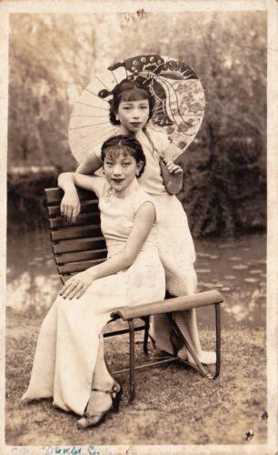 CHINA actor actress chinese  girls, umbrella, vintage real photo card