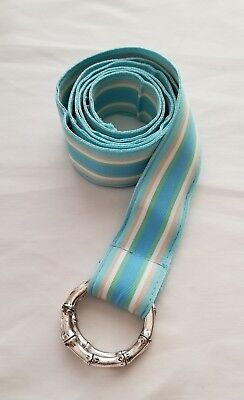 SEAFOAM, BLUE, GREEN, IVORY & TAN GROSGRAIN SILVER D-RING BELT SIZE XL