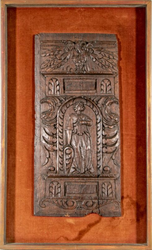 Antique 17th Century Figural Carved Wood Panel Architectural Element Biblical