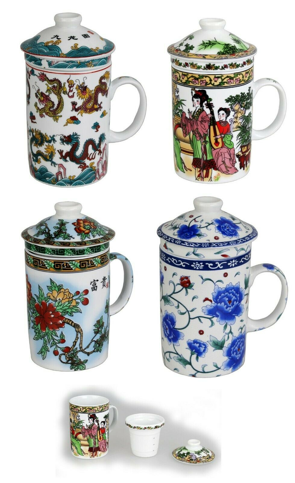 Teetasse mit Deckel 250 ml und Sieb Becher Porzellan für Losen Tee oder Beutel