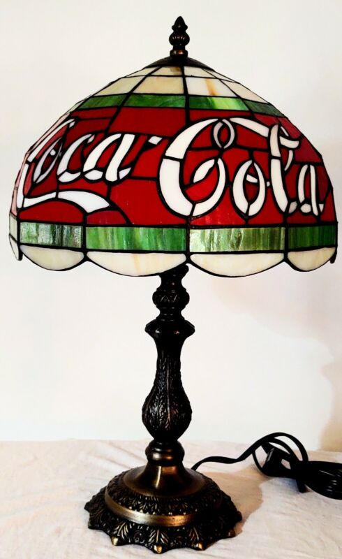 """Stained Glass Coca Cola Electric Lamp REAL GLASS 19.25""""H. STILL IN ORIGINAL BOX"""