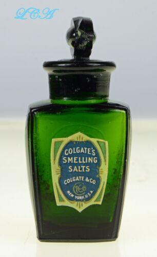 Deep GREEN antique COLGATE SMELLING SALTS embossed bottle, label & GLASS stopper