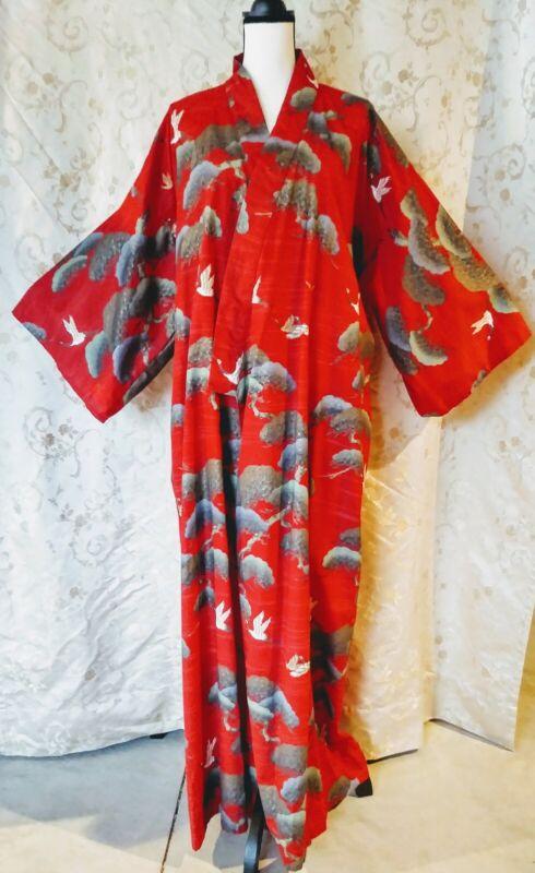 Authentic Traditional Japanese  Yukata Kimono Vintage Red Crane Bonsai Pattern