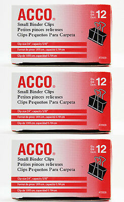 3 Boxes Acco Small Binder Clips 34 Wide 516 Capacity Black 12 Ct Each 72020