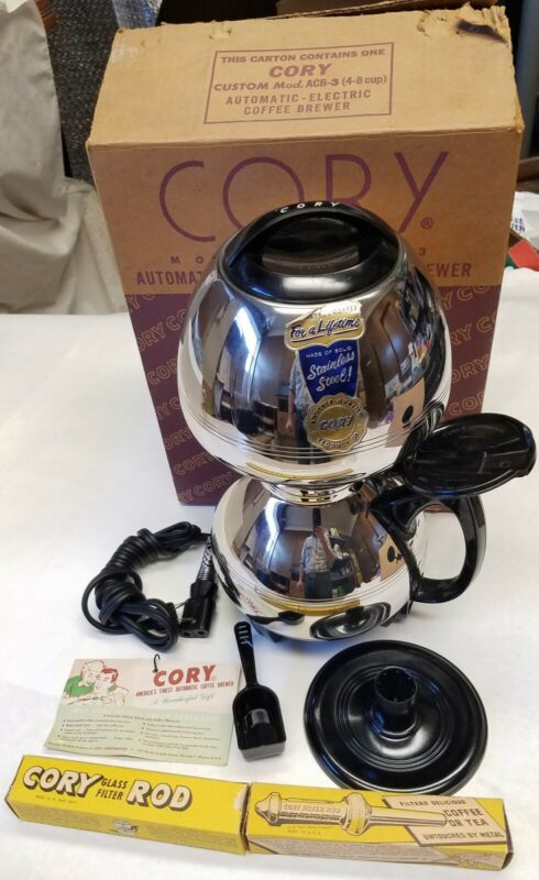UNUSED Vintage Cory Stainless Steel 4-8 Cup Vacuum Coffee Maker ACB-3