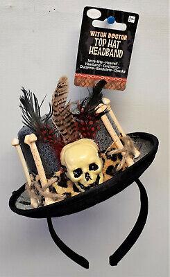 Hexen-Doktor Haarreif mit Hut Voodoo Halloween Totenkopf Steampunk Zylinder