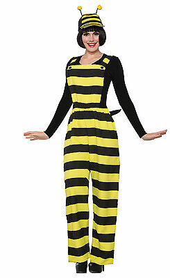 Adult Worker Bee Overalls Unisex Costume Yellow & Black Bumble Bee One Size