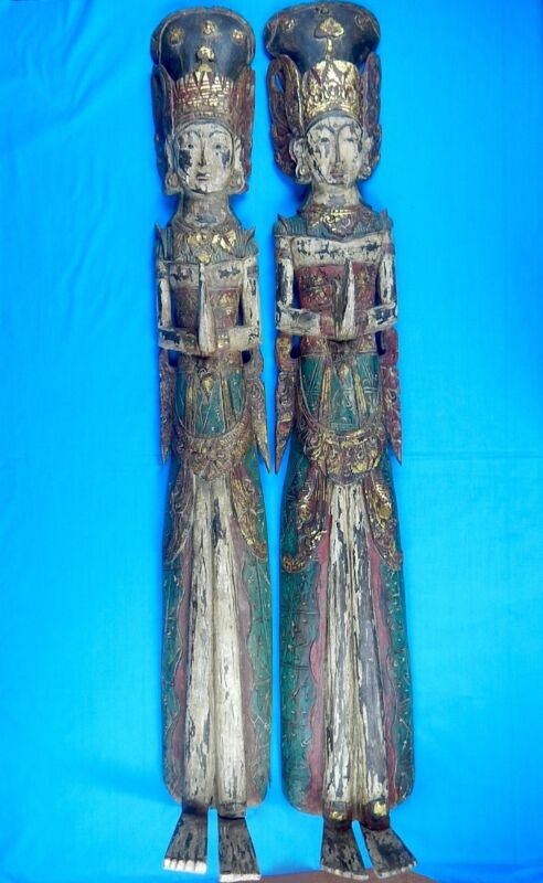 "Antique Indonesian Bali Balinese Large 52"" Carved Wood Wedding Couple Figurine"