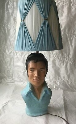 ELVIS PRESLEY TABLE LAMP, BUST OF THE KING, ORIGINAL PLEATED SHADE, ON SALE!!