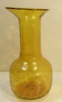 """VINTAGE MCM STUDIO CRACKLE ART AMBER GLASS BOTTLE VASE w/ELLIPTICAL TOP 10.5"""""""