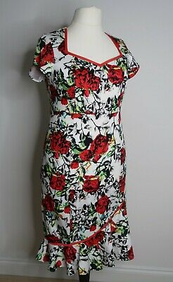 joe browns womens white red rose the bop pin up wiggle pencil dress floral 16