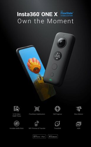 Insta360 One X 18MP-Best in class 5.7K video quality-WIFI-CAMERA HDR-SLOWMOTION!