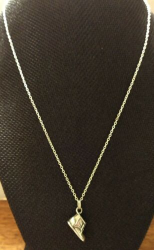 """Sterling Silver Necklace Baby Booty Pendant on 18"""" Chain Both Marked 925 ExCond"""